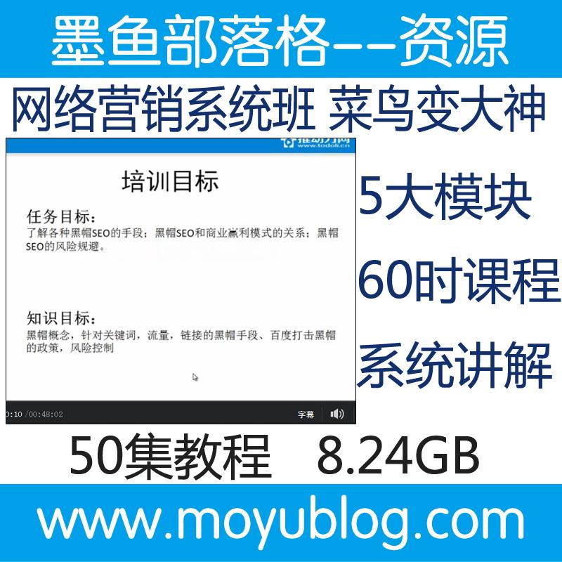 营销型网站建设SEO搜索引擎优化SEM微博微信QQ等营销推广视频教程