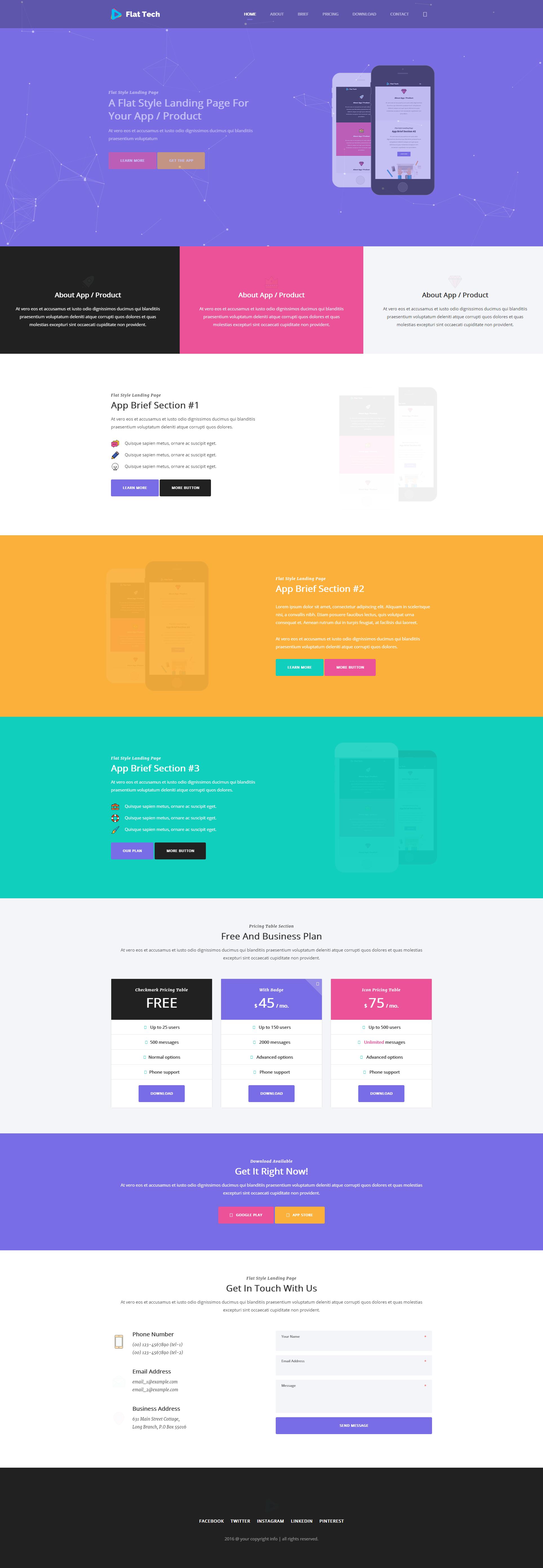 扁平化的手机app介绍响应式html5动画模板