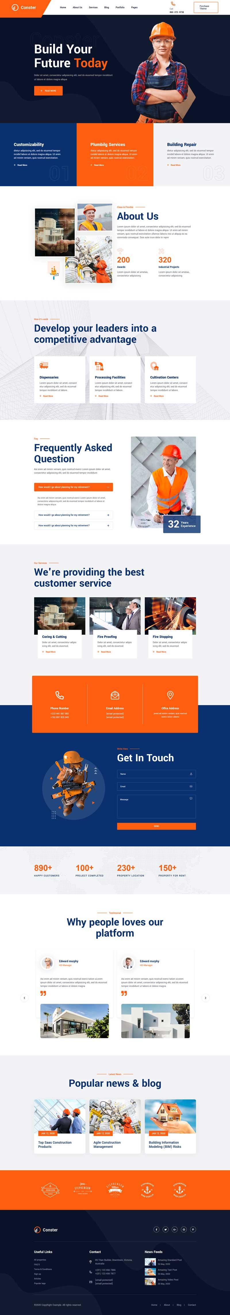 橙色的工业建筑企业官网html模板