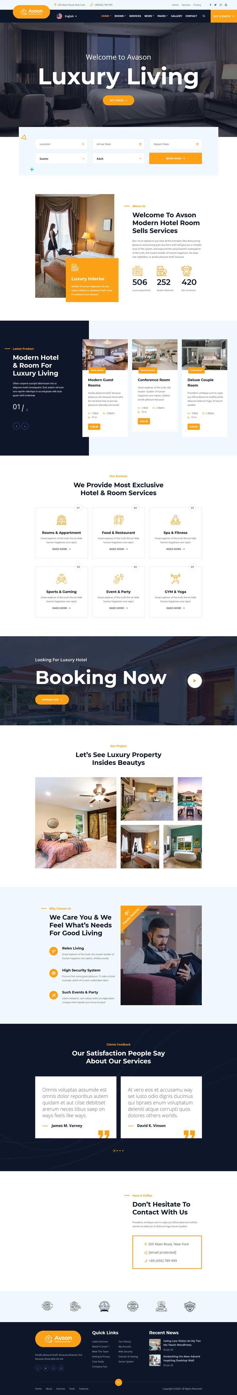 星级酒店客房预订官网HTML5模板