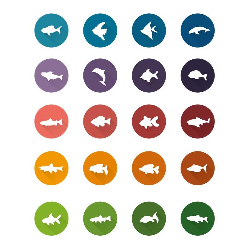 简约的鱼类海洋生物图标大全AI素材下载
