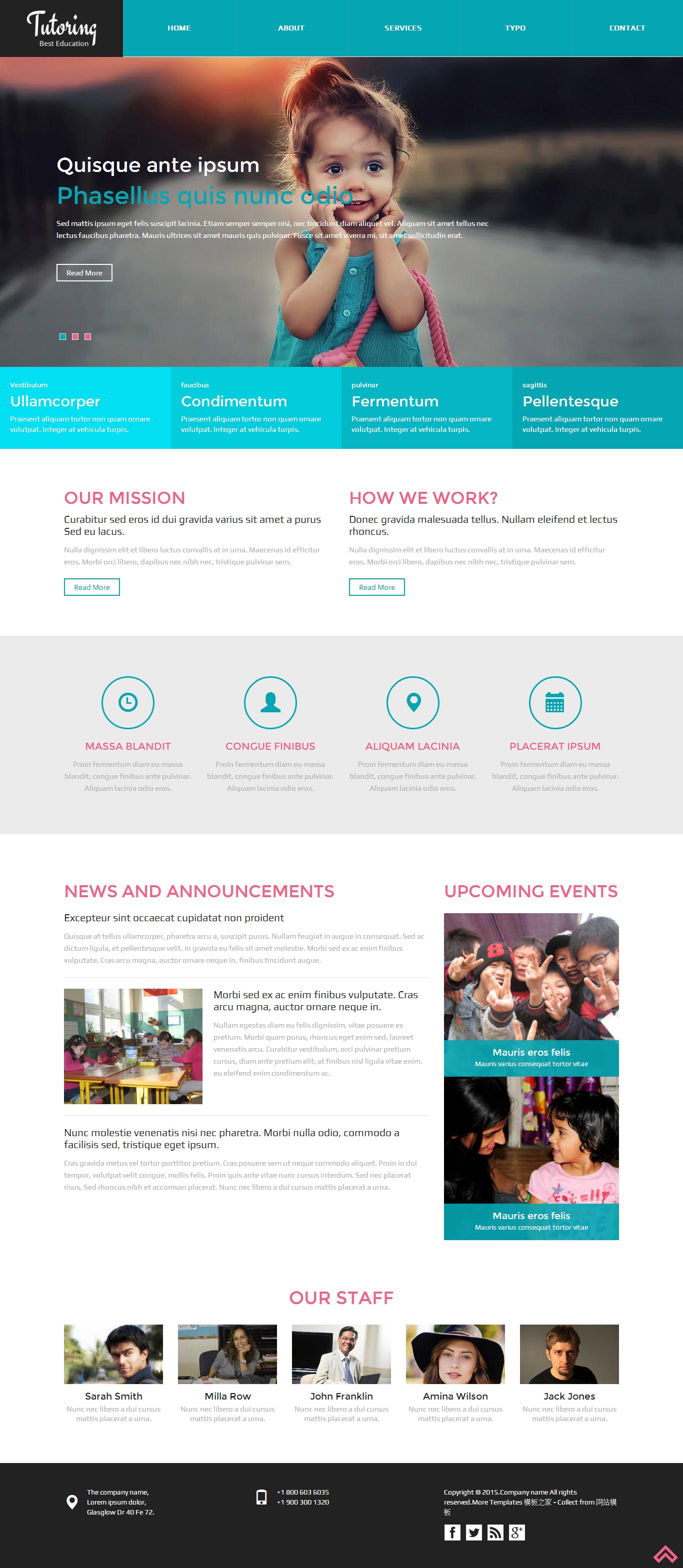 蓝色宽屏的小学生教育机构网站模板下载