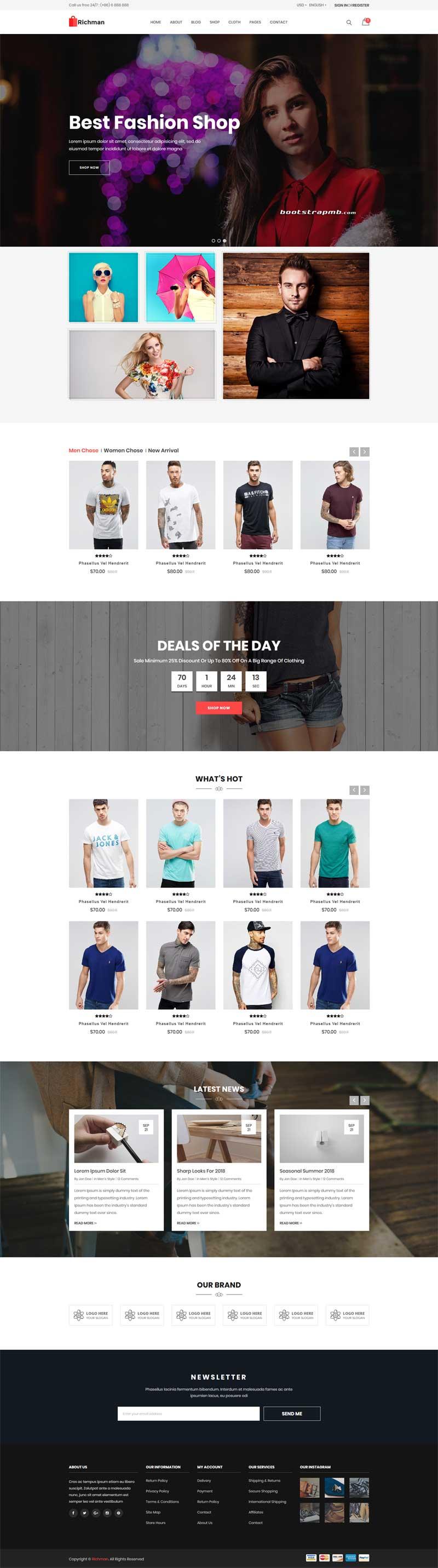 大气时尚的服装电商网站模板
