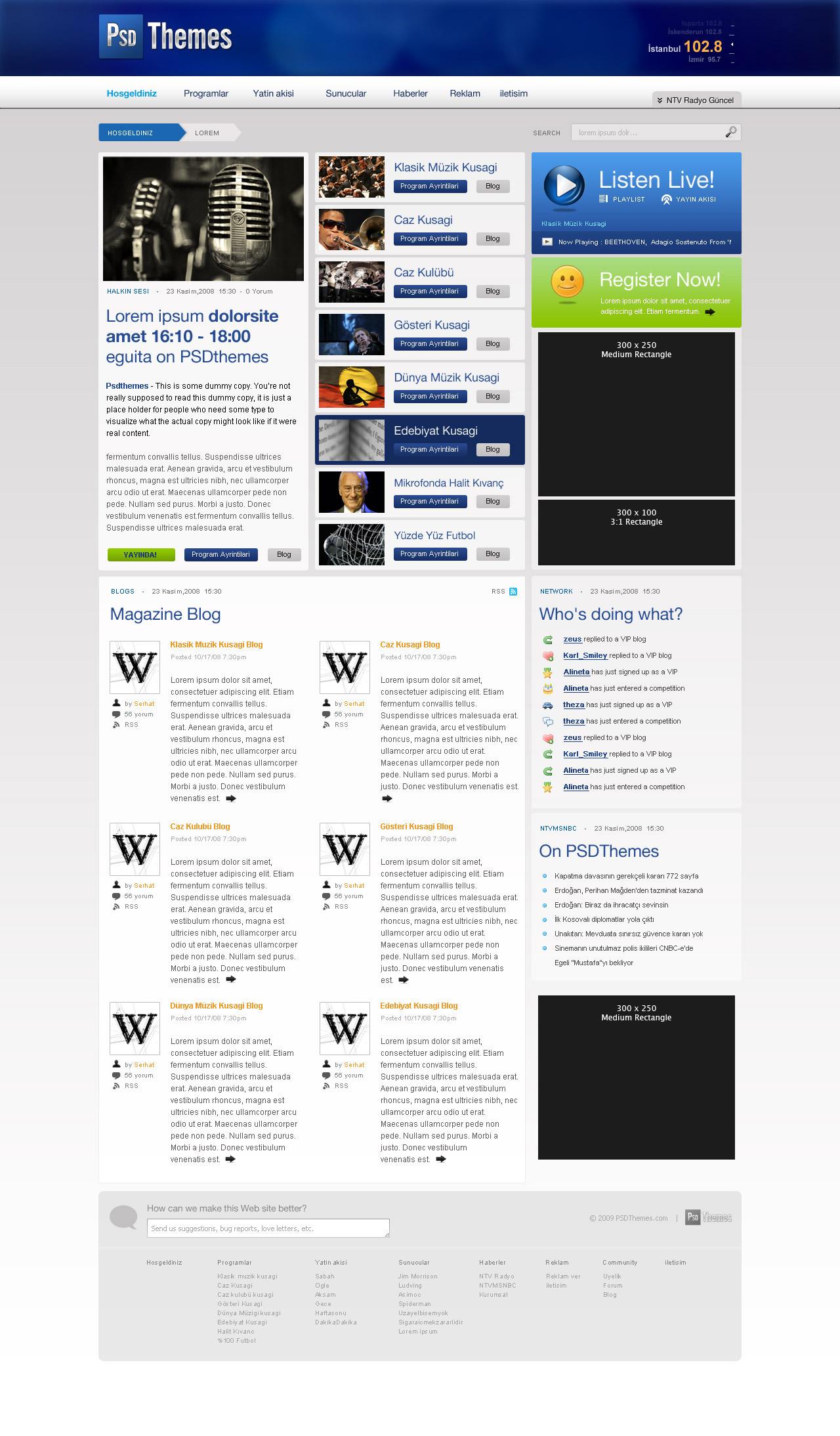 娱乐媒体博客网站模板_psd网页模板下载