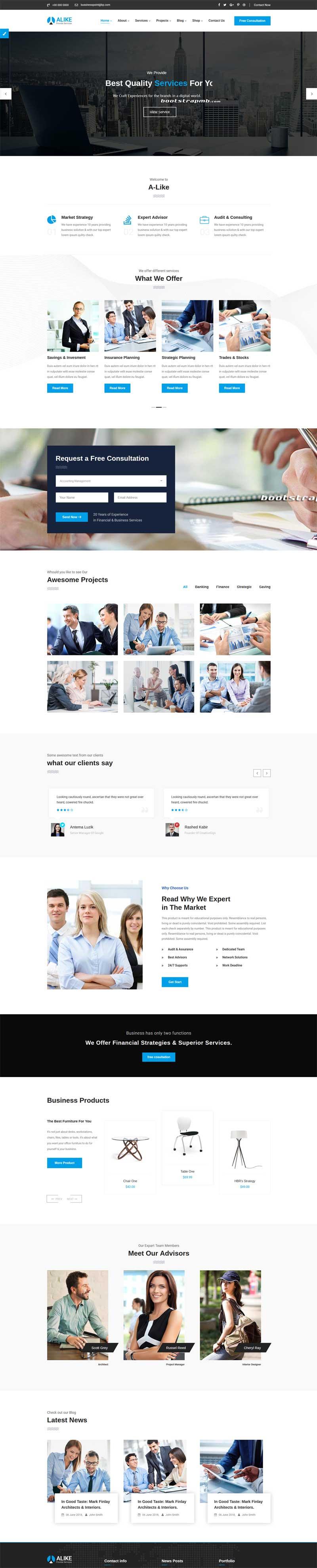精美的商业咨询管理HTML5前端模板