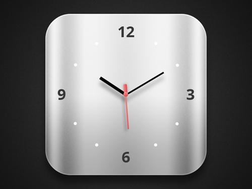 苹果ios系统风格的立体时钟PSD分层素材下载
