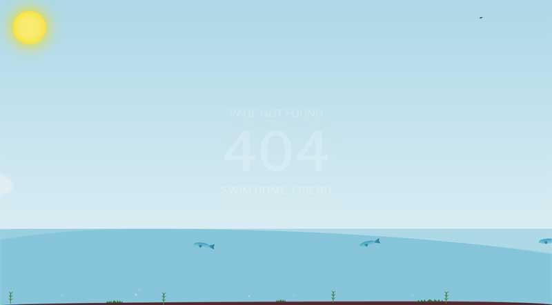 纯css3海面上404页面动画特效
