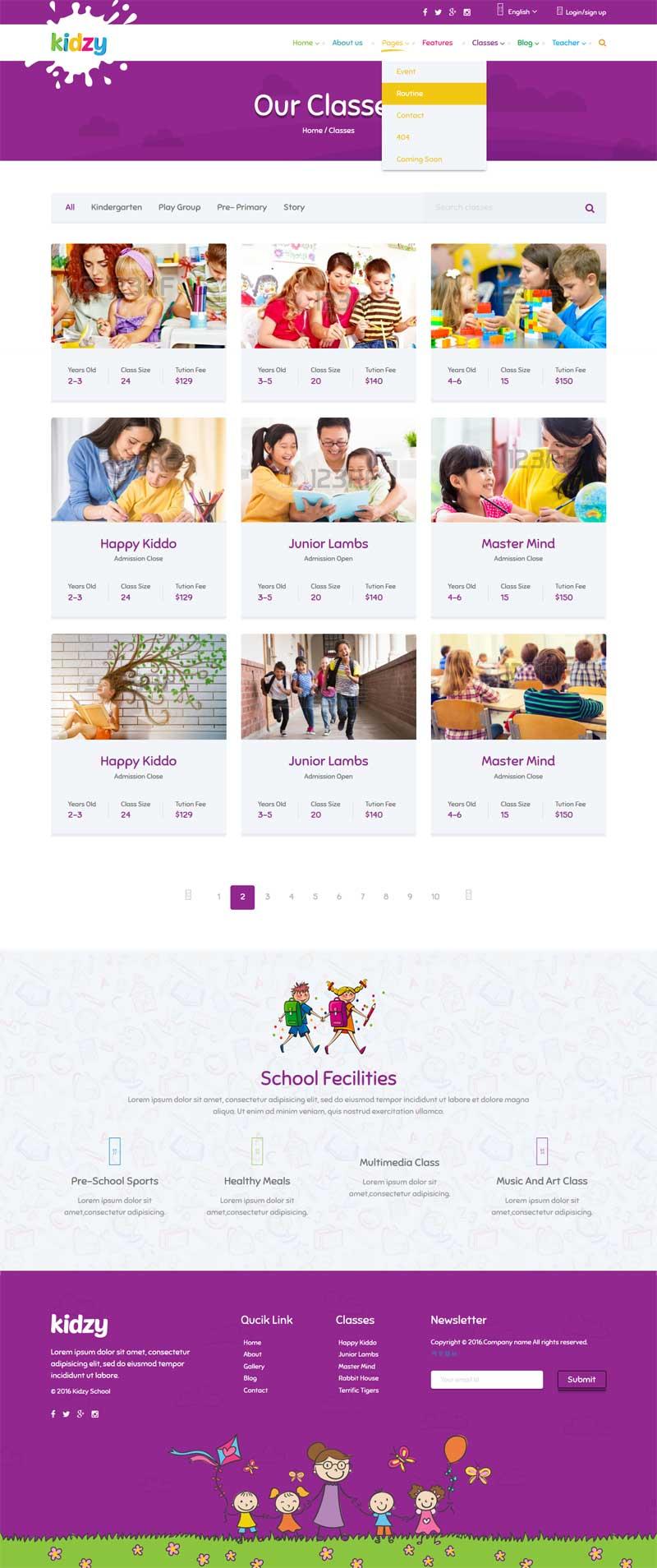 紫色卡通风格的儿童教育培训网站模板下载
