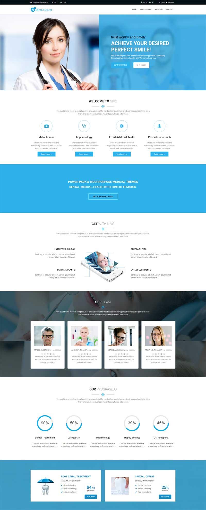 蓝色大气的牙科医疗诊所网站html5模板