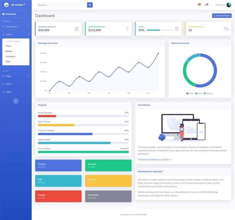 多用途的企业业绩销售统计管理ui模板