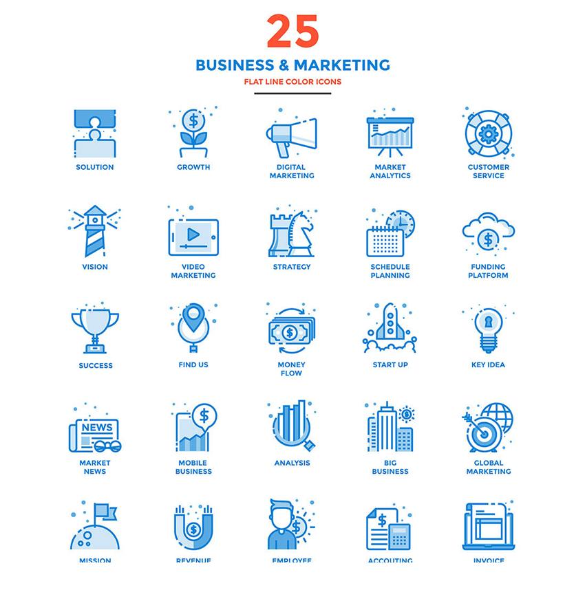 蓝色的商业金融投资图标大全AI素材下载