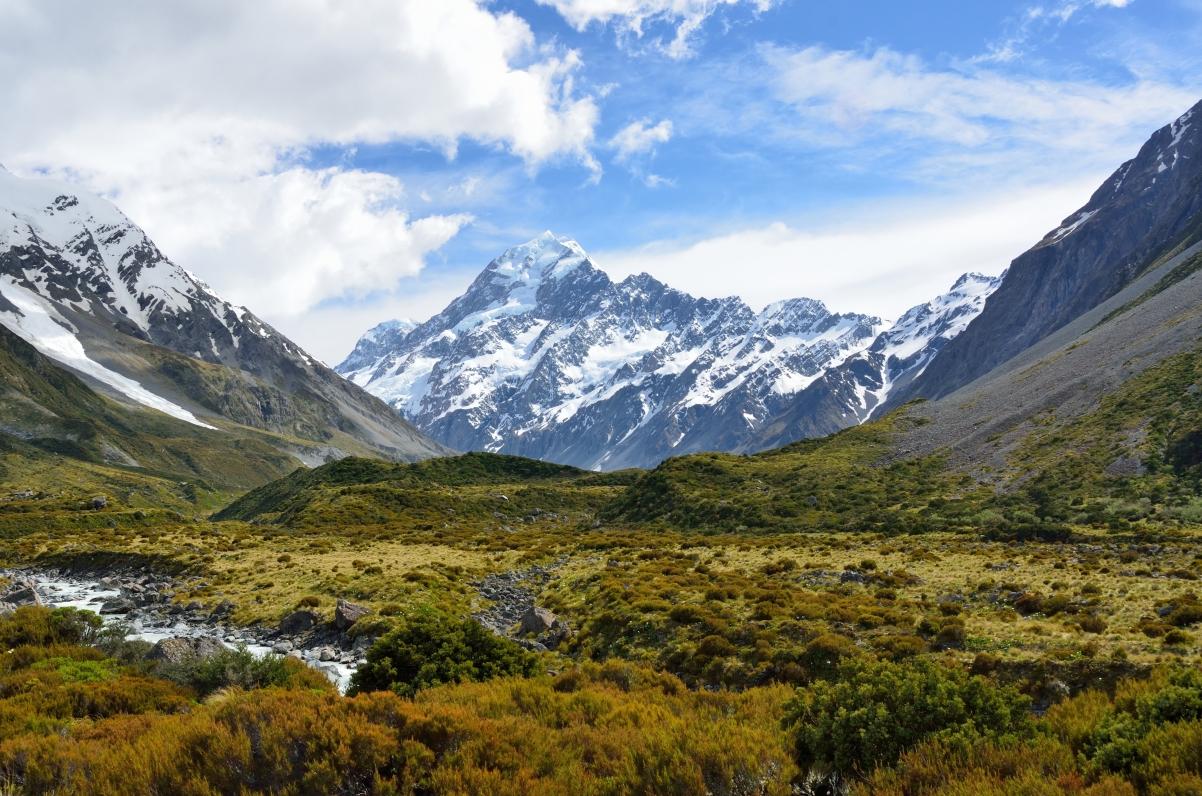 库克山 新西兰 高山 天空 云 南阿尔卑斯山 4K风景壁纸