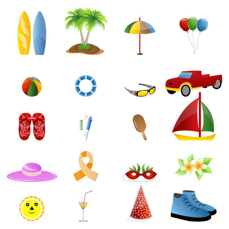 精美创意的夏日度假旅行图标AI素材下载