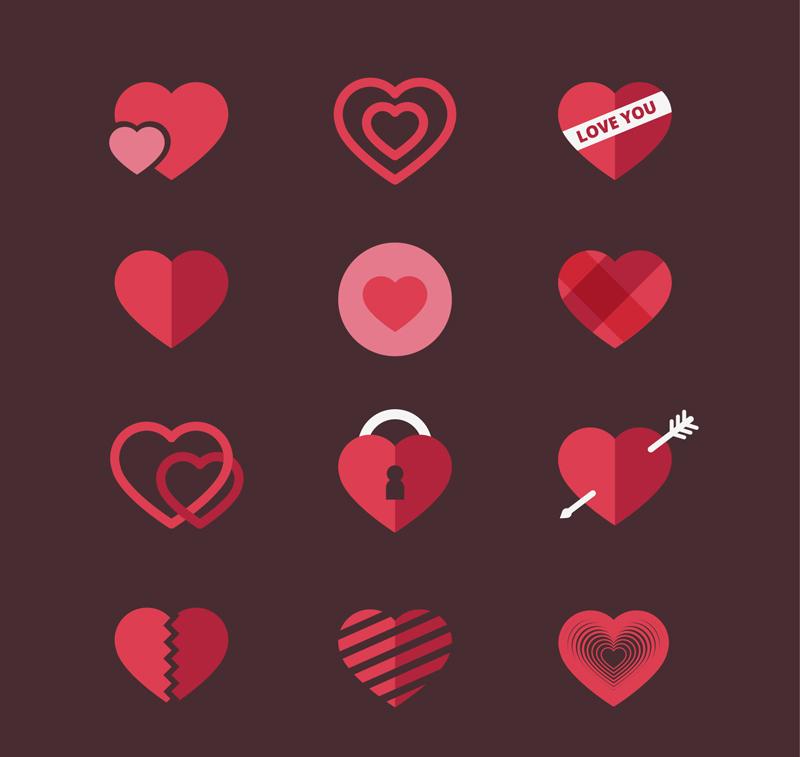 红色扁平的多款爱心图标设计素材下载