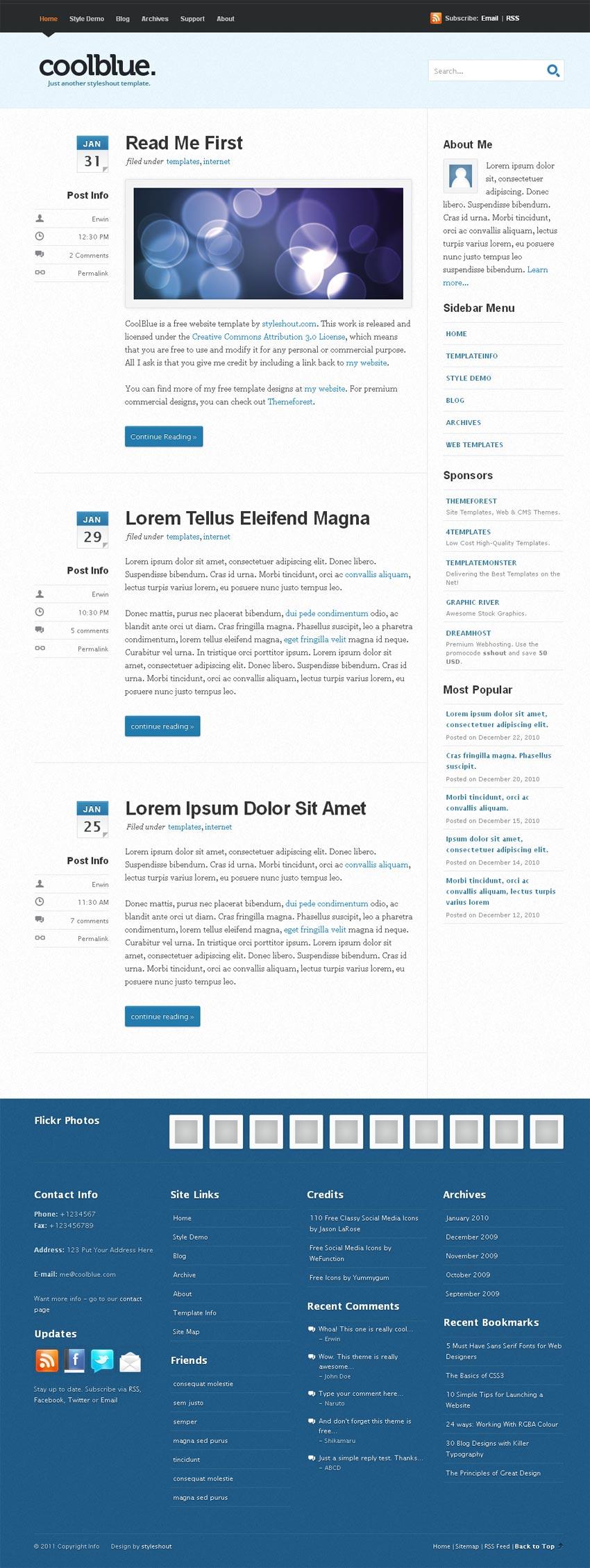 简洁的个人主页博客网页html模板下载
