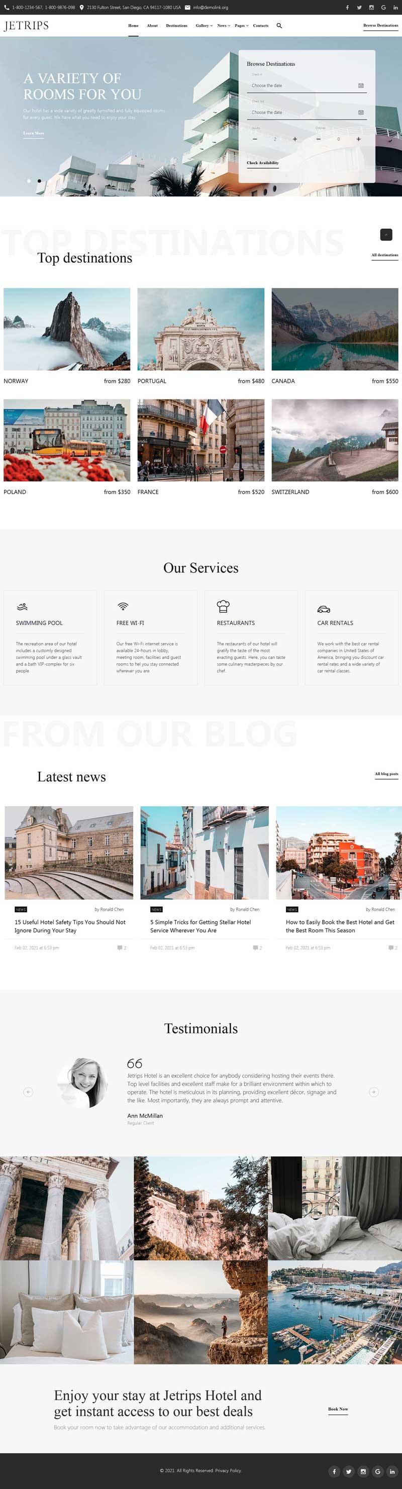 旅游度假酒店预订官网html5模板