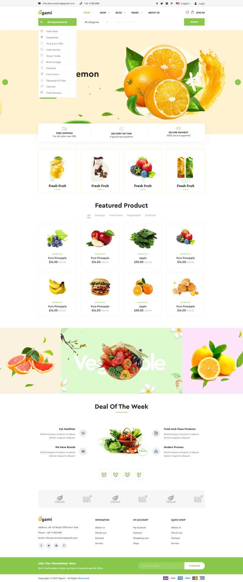 蔬菜水果食品商城网站模板