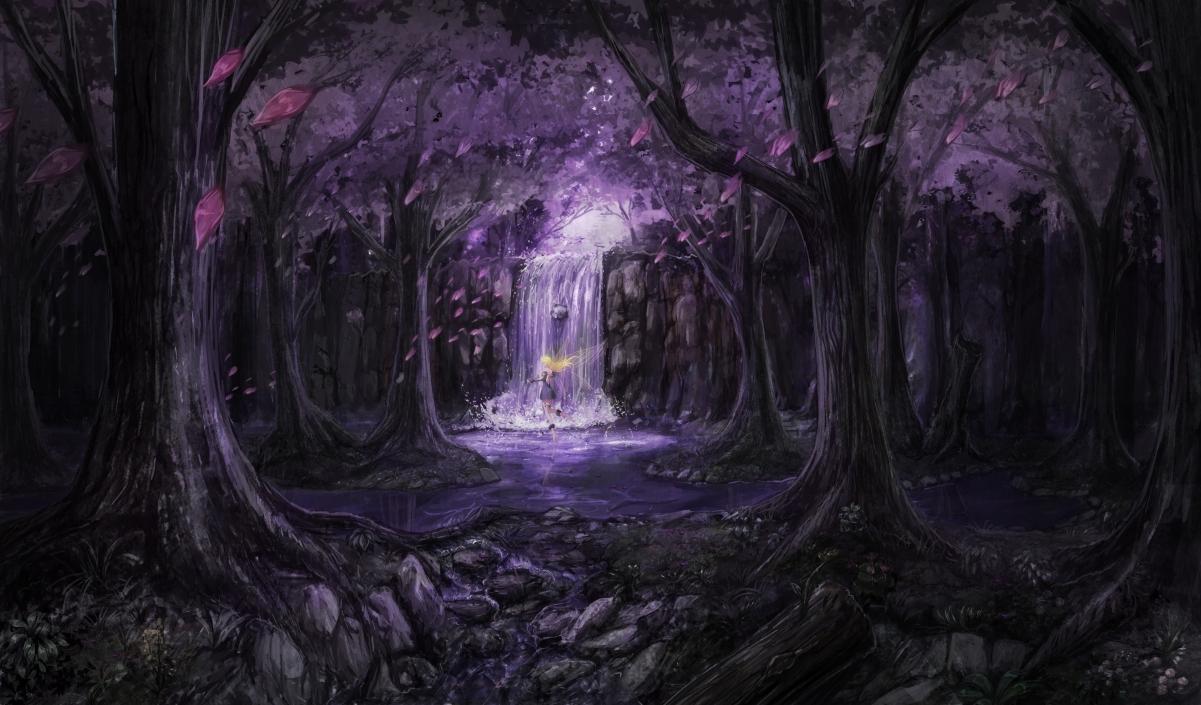 唯美森林瀑布女孩4K动漫壁纸