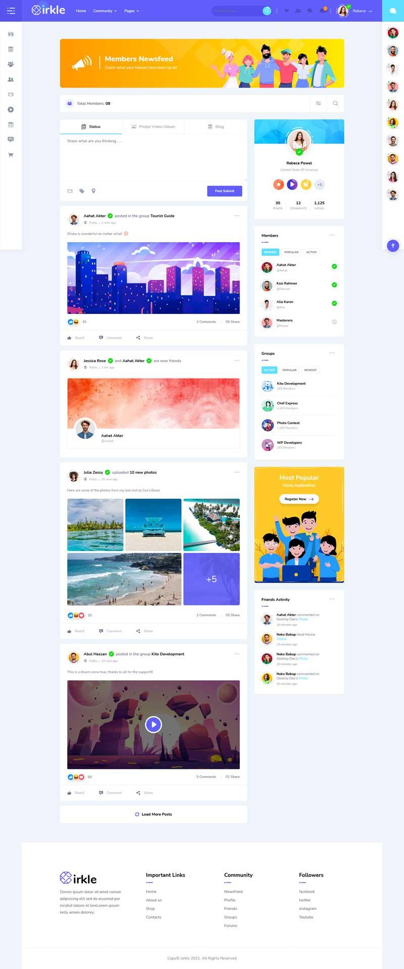 社交社区博客网站HTML模板