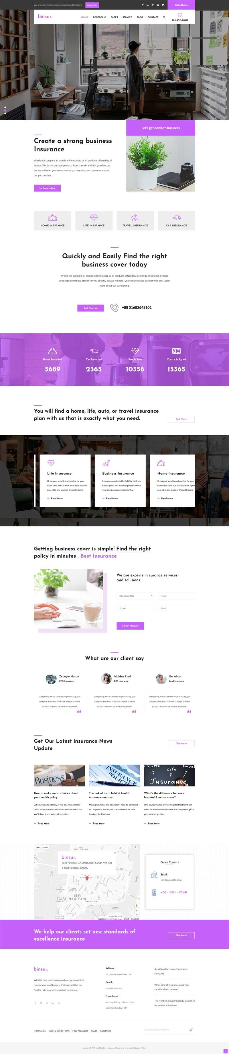 紫色大气的商业保险公司网站模板