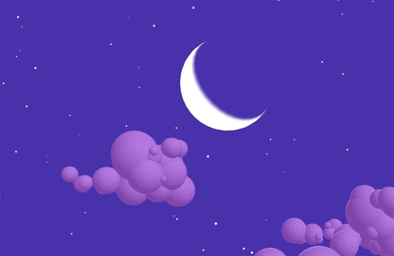 html5 canvas夜空中月亮和云层动画特效