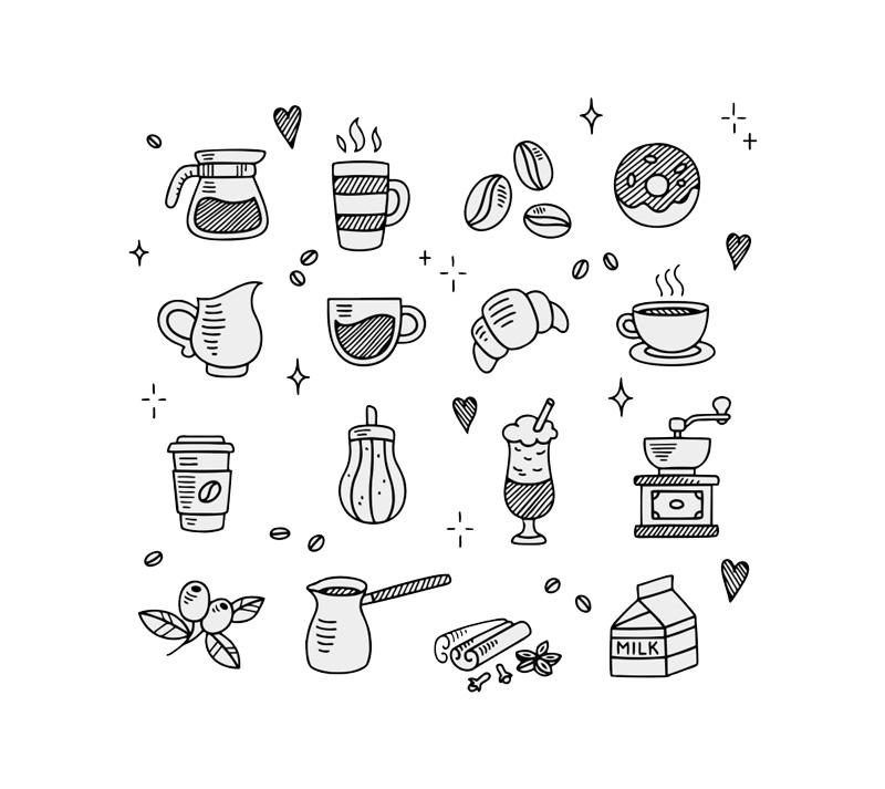 黑白手绘风格的甜品咖啡店图标素材下载