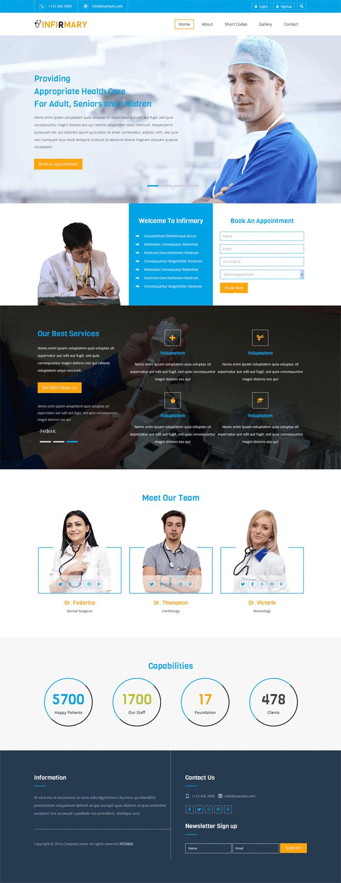 蓝色宽屏html5国外医疗机构网站模板