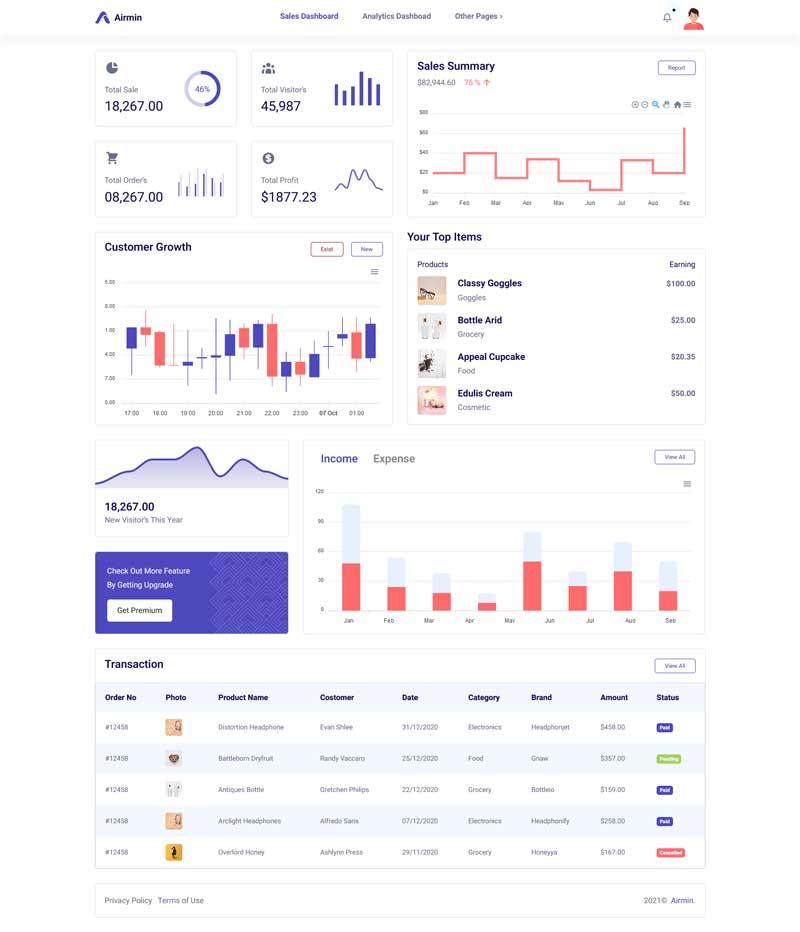 网站业务销售统计管理ui框架模板