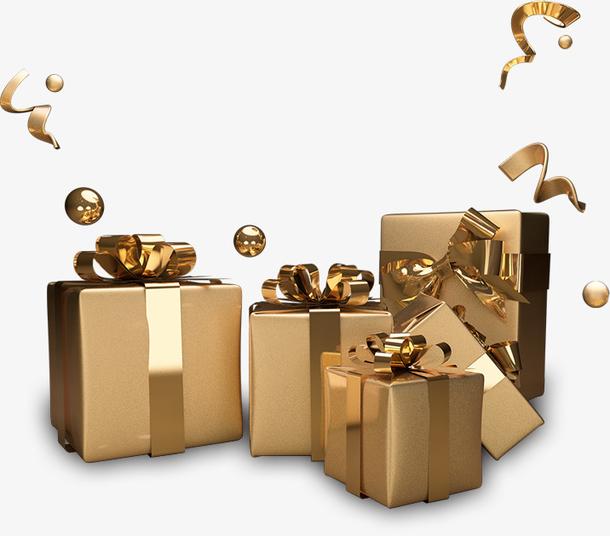金 礼品盒 礼物盒 漂浮