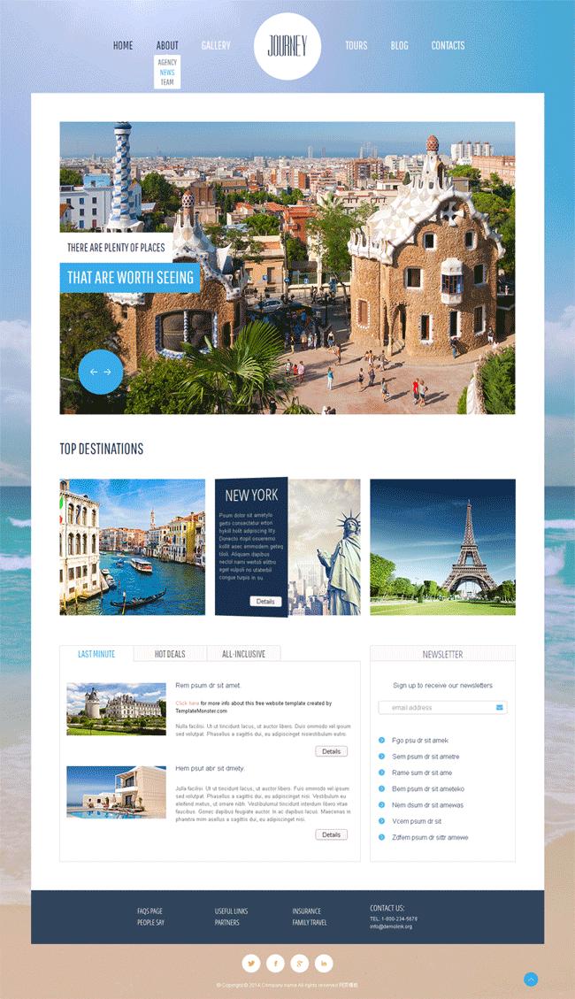 国外大气的旅游行业静态网站模板源码