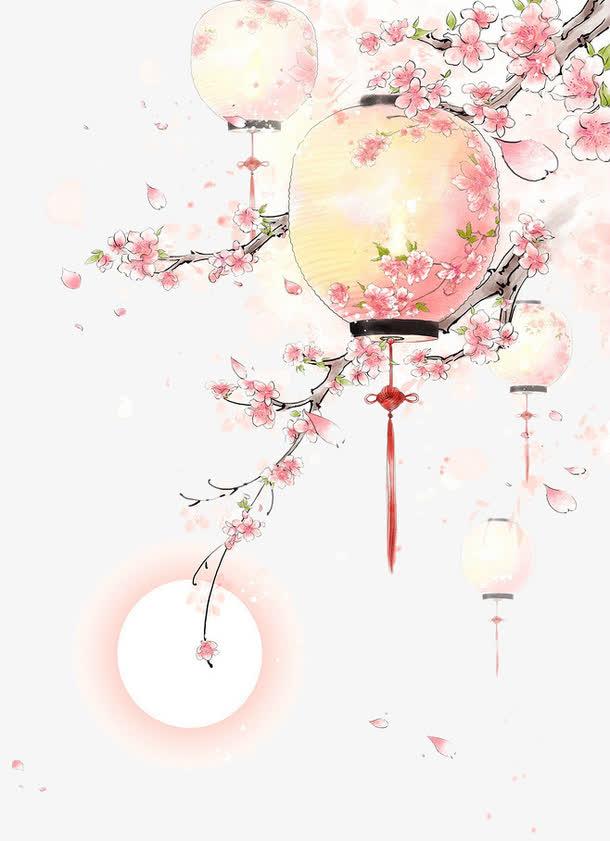 水彩<a href=https://www.moyublog.com/tags/shouhui/ target=_blank class=infotextkey>手绘</a>古风桃树灯笼