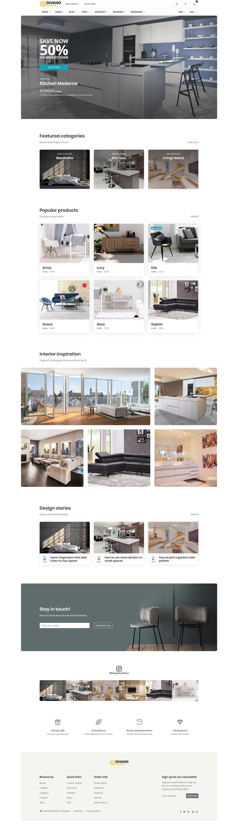 简洁的室内家具购物网站模板