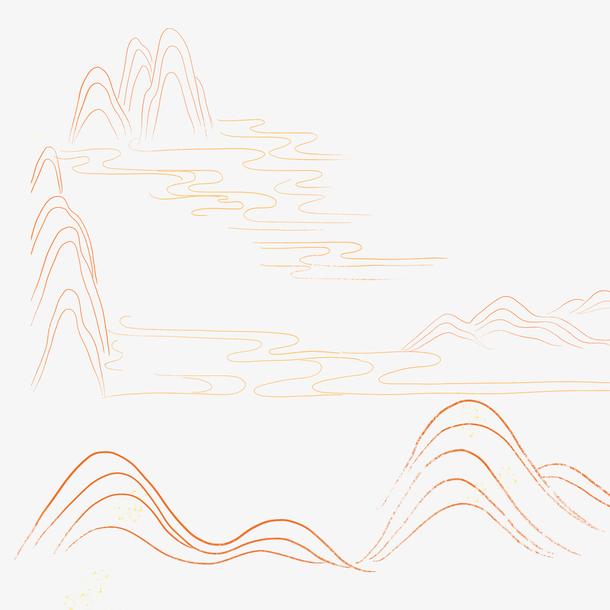 国潮风山体金<a href=https://www.moyublog.com/tags/xiantiao/ target=_blank class=infotextkey>线条</a>山体轮廓图