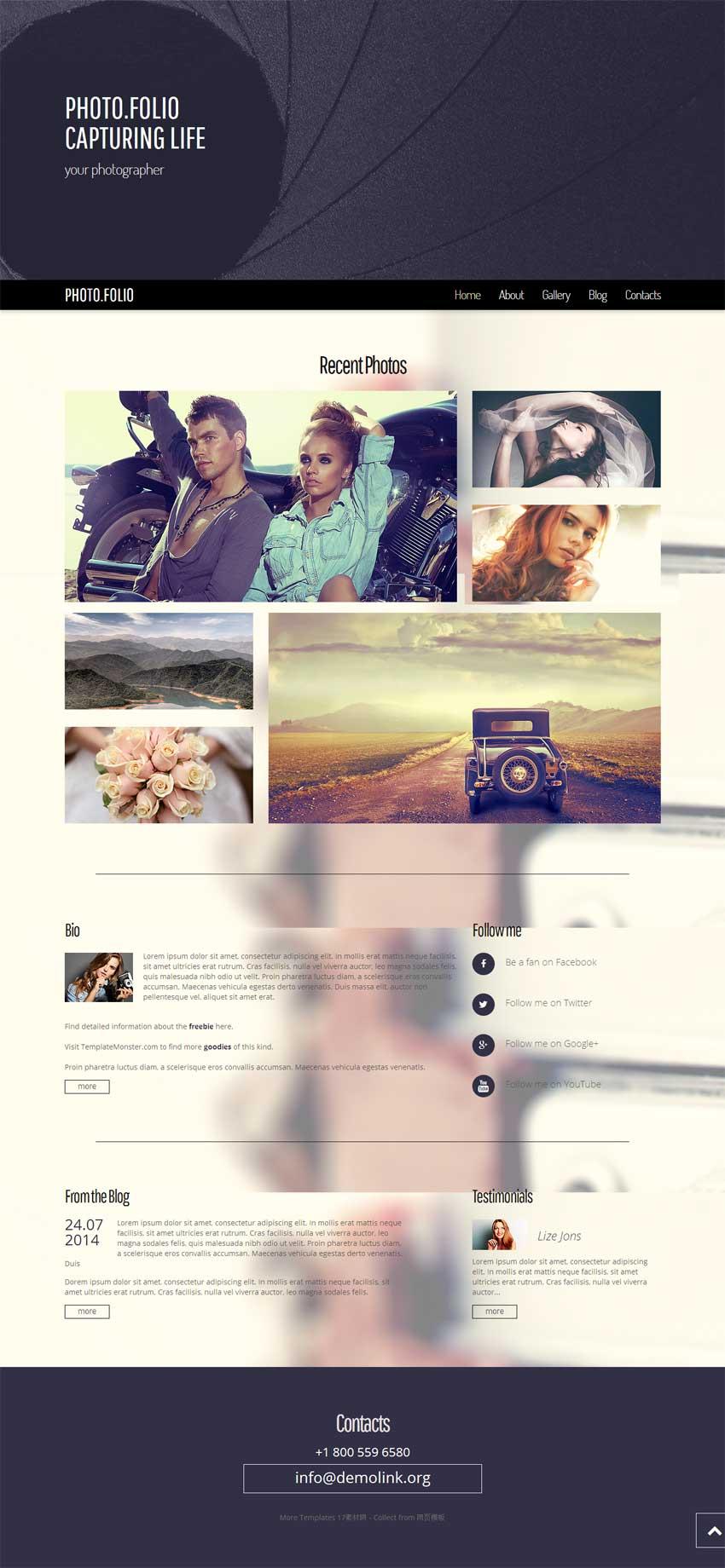 黑色宽屏的个人相册图片博客模板源码下载