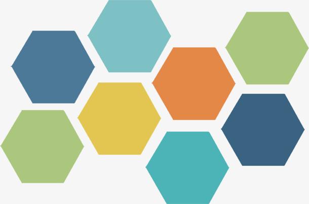 多边形六边形蜂窝彩色免扣素材