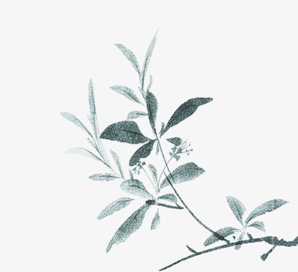 春天中国风、水墨山水画、杨柳、踏春