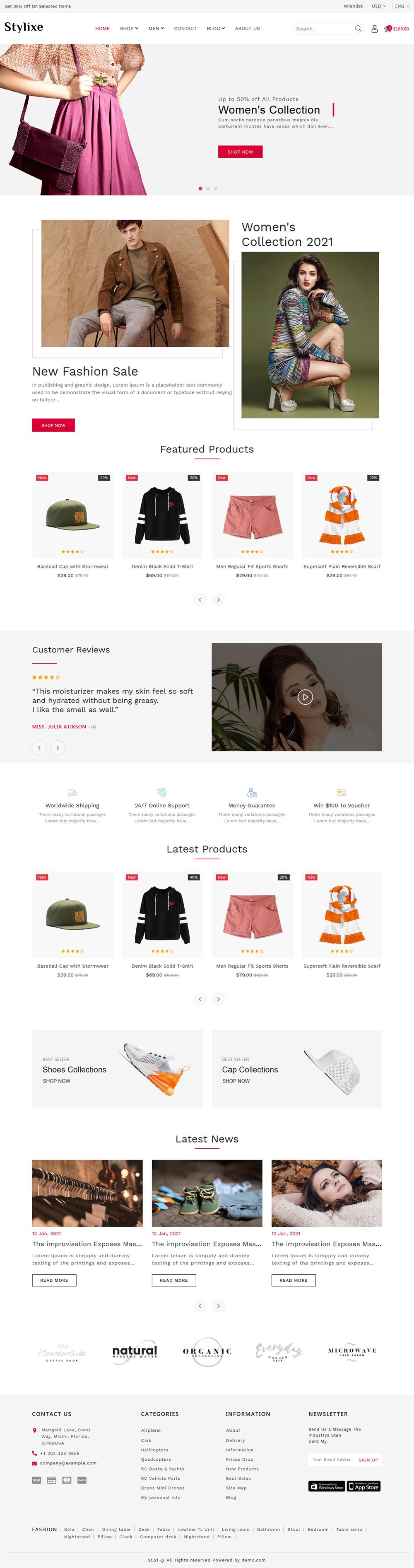 简洁的服装配饰销售商城html5模板