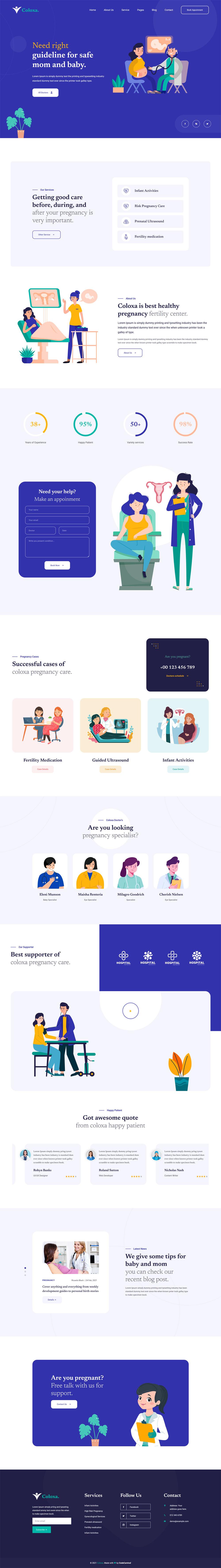 妇幼保健医疗服务Bootstrap网站模板