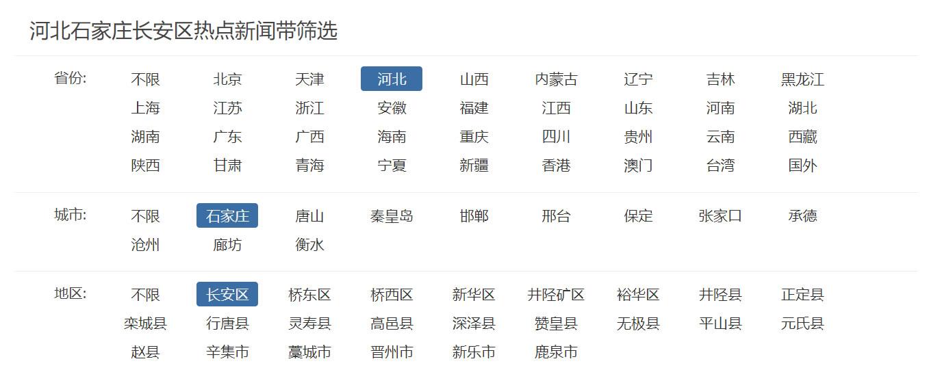 帝国CMS地区3级联动+列表结合项筛选功能
