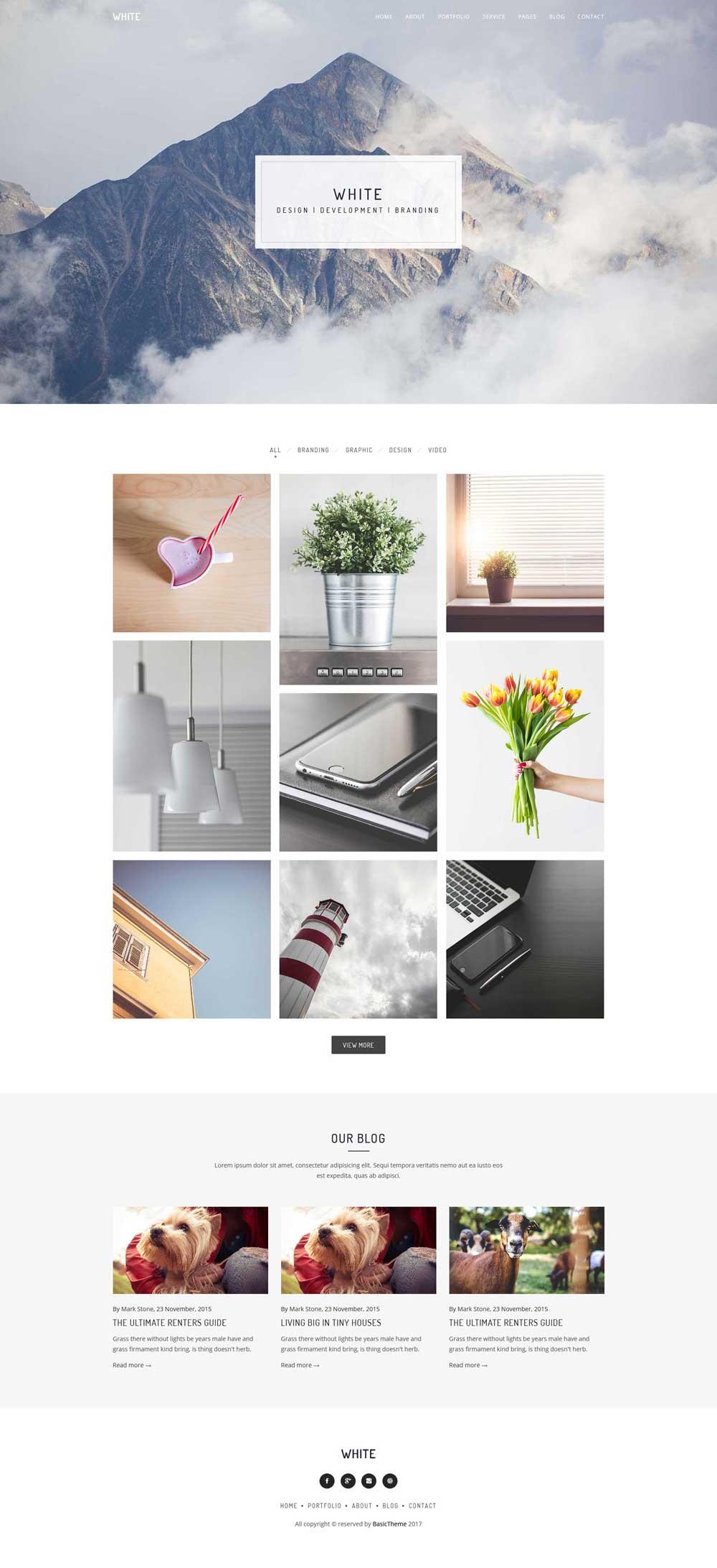 轻量级图片相册博客html模板