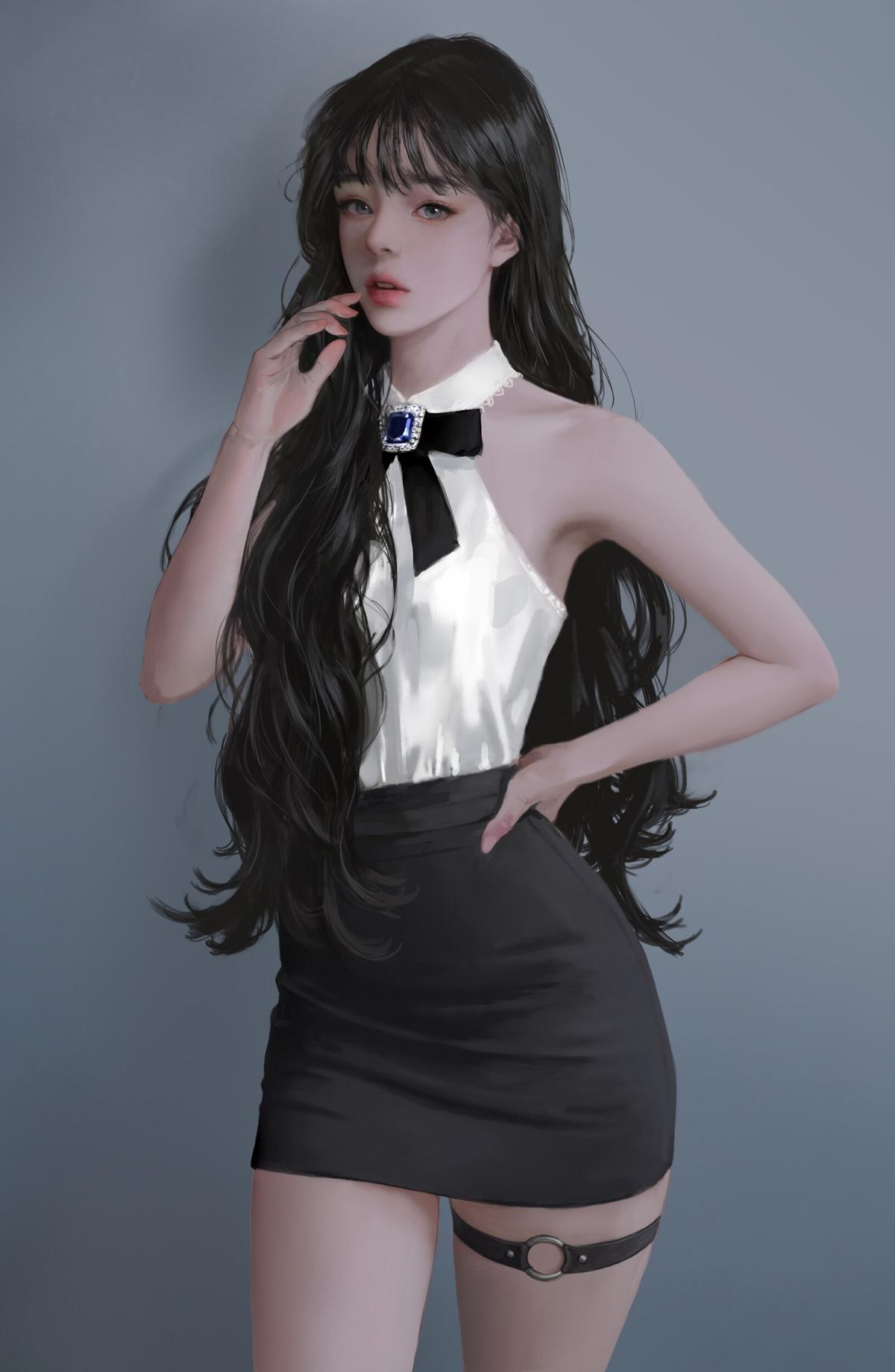 长卷发波浪美女 黑色短裙 人物绘画全面屏手机壁纸