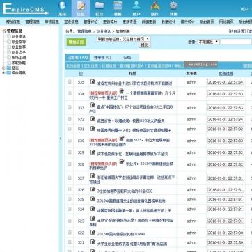 大气新闻文章资讯博客自适应手机HTML5响应式网站模板整站帝国CMS后台功能